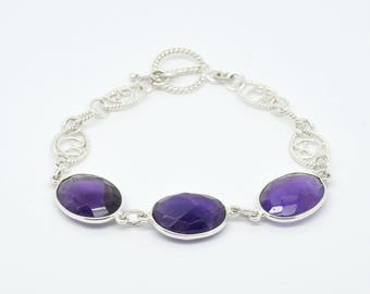 Sterling Silver 925 Faceted Oval Purple Amethyst Fancy Link Bracelet with T-bar Toggle Fastening. 7 1/2 Inch