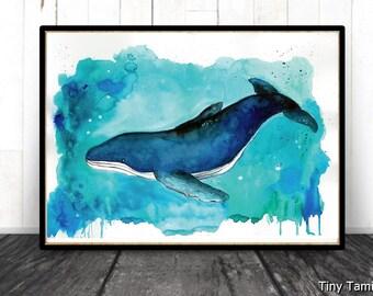 Beyond the sea - Whale Watercolor Print