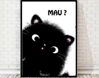 Mau?  - black cat - pet - art - print
