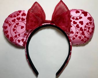 Pink and Red, Minnie Mouse Ears, with Hearts