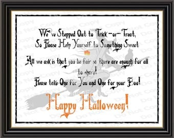 Printable Halloween Candy Sign, Trick or Treat Candy Sign, Beggars Night Candy Sign, Halloween Decor, Halloween Print, Kids Halloween Print