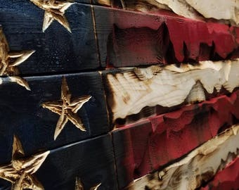 American Flag 20 x 37 Hand Carved by Combat Veterans