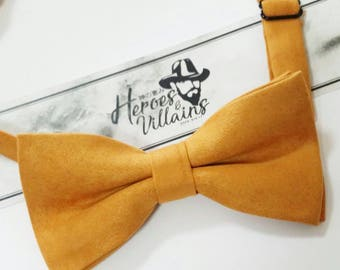 Mustard yellow bow tie,mustard bow tie,yellow brown bow ties, dapper bow tie,suede bow tie,wedding bow tie,mens bow tie,yellow neck tie