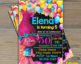 Instant Download-Trolls Invitation,Trolls Birthday,Trolls Birthday Invitation,Trolls Party,Trolls Editable Invitation