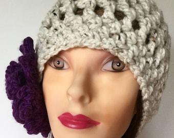Cloche with flower earmuff beanie winter hat Christmas birthday gift