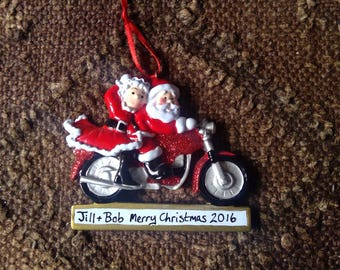 Personalised christmas tree decoration Motorbike couple