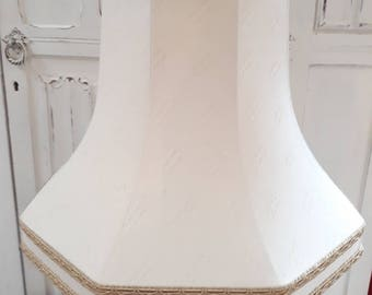 Ivory linen look classic octagonal large table lampshade, gold trim.