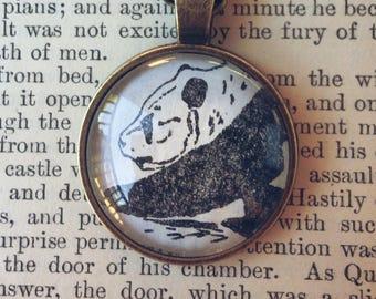 Panda Necklace - Panda pendant - panda jewelry - panda keychain - cute panda - panda illustration - vintage panda - ready to ship