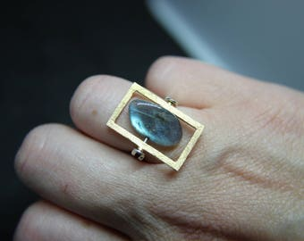 Ring of 925 sterling silver ring with labradorite geometric bicolor