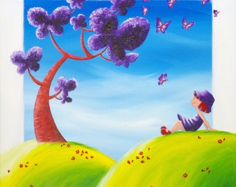 "Giclee print on canvas 50 x 50 ""tree with butterflies"""