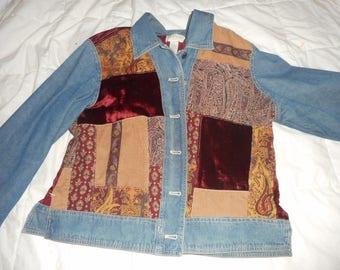 Vintage patchwork, J. Jill, jean jacket size M