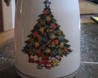 Vintage Christmas treasure cookie jar Jamestown china action industries including ornament decoration