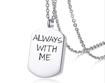 "Memory Souvenir Openable Stainless Steel Cremation Urn Dog Tag Pendant 20"" Chain,Always with me"