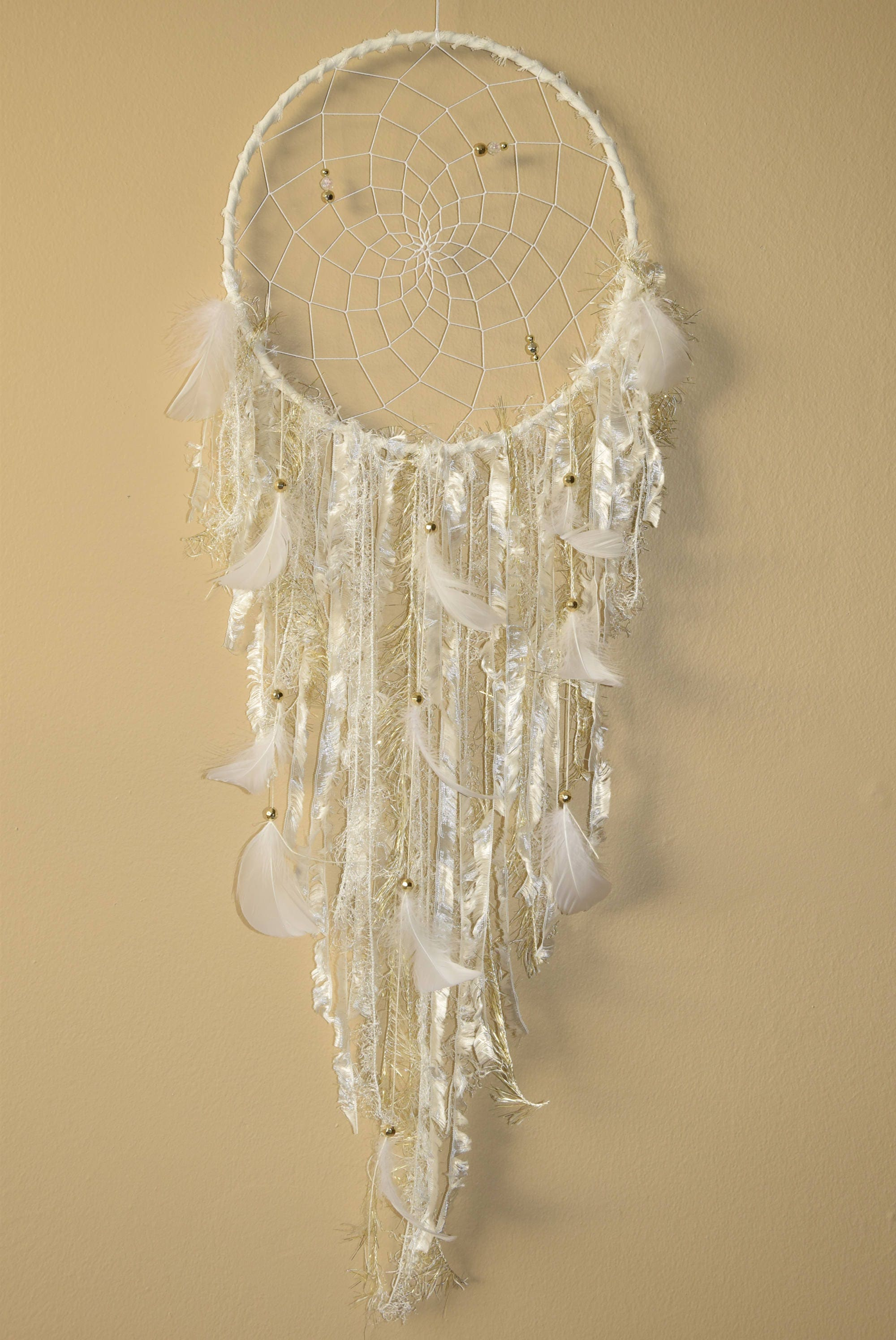 Boho Wall Hanging Dream Catcher Decor, Large White and Gold Dream ...