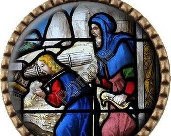 Bronze pendant Cabochon - Church window (677)