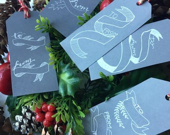 holiday calligraphy gift tags