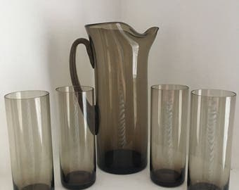 Mid Century Smoked Glass Pitcher and Hi Ball Glasses