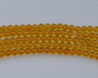 3 Citrine beads natural 8mm diameter yellow