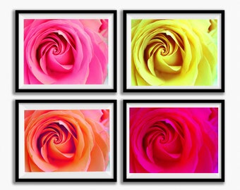 Wall Art Print Set, Flower Photos, Digital Download,  SET OF 4, Rose photos, mother's day gift, gift set, home decor, wall art, spring decor