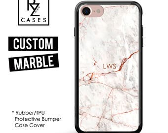 Rose Marble Phone Case, Initials, Marble iPhone 7 Case, Personalized Gift, iPhone 7, Gift for Her, 7 Plus, iPhone 6, Rubber, Bumper