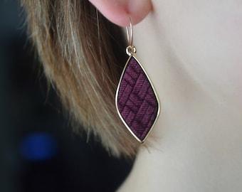 Burgundy velvet drop earrings