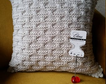 Knitted pillow for home decor - BEIGE -  decorative pillow knitted - handmade cushion - beige knit pillowcase - wool knitted pillow cover