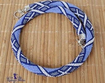 Crochet bead  necklace Geometric Seed bead rope necklace beadwork necklace Gift idea for wife