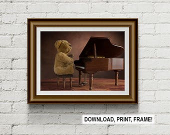 Teddy Bear Print, Bear playing piano, Musician photograph, Plush bear print, Teddy bear photograph, Wall Art, digital download, printable