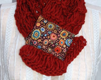 Scarf rust wool with magnetic closure (circle)