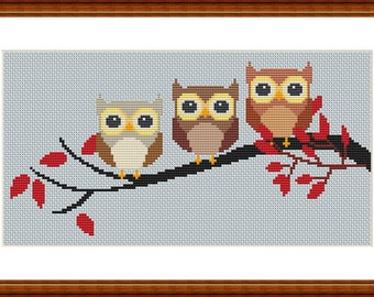 3 owls cross stitch pattern chart pdf download