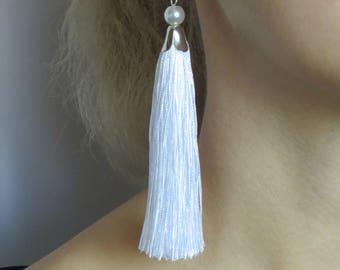 Tassel еarrings Silk earrings Fashion jewelry Long earrings White earrings Elegant earrings For her