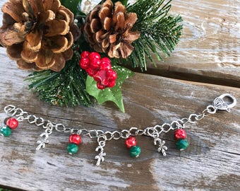 Christmas Jewelry, Candy Cane Charm Bracelet, Christmas Charm Bracelet, Candy Cane Charms, Christmas Gift, Gift for Her, Red Beads, Beads