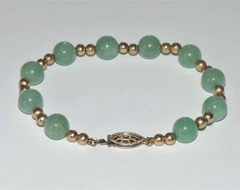 "Vintage EstateAsian Chinese8mm Green Jade BeadsGoldFilled Bracelet 9.95 Grams 7.25"""