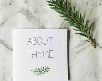 Card 'About thyme' inside blank