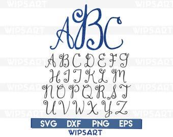 SALE! Fancy Curl monogram svg file, monogram cut file, monogram cricut, monogram vinyl, monogram clipart, monogram silhouette,monogram dxf.