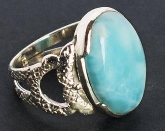 AAAA++++ Quality Genuine Dominican Republic Larimar Gemstone Men's Ring, Size 12 US, 925 Sterling Silver, Girls Ring, Women Ring, FSJ-1012