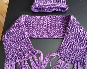 Matching hat and loom scarf