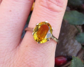 Vintage 9ct Yellow Gold  Citrine Solitaire Ring, Size O, Statement Ring, Engagement Ring, Vintage, Antique, Citrine Ring, Citrine Solitaire