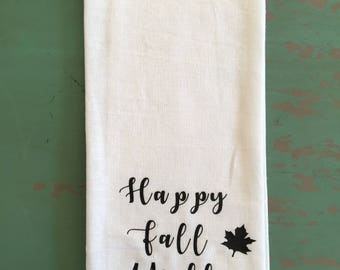 Happy Fall Y'all Tea Towel