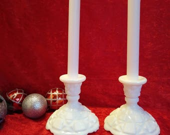 Vintage Westmoreland Glass Co., Old Quilt Pattern Candlesticks