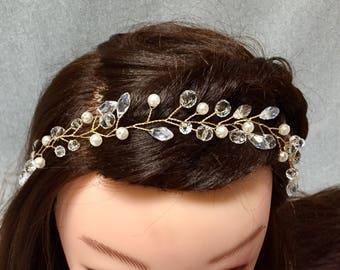 Wedding Hair Vine   Gold Bridal Hair Vine   Gold Headpiece   Crystal Wedding Headpiece