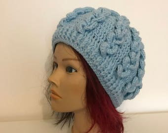 Light blue hood with pattern