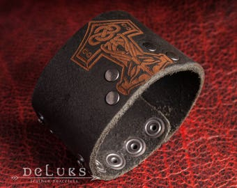 Viking leather Bracelet, Viking Bracelet, Men's Leather Wristband, Norse Leather Bracelet, Nordic Leather Bracelet Cuff, Men's Cuff Bracelet