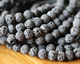 6mm Natural Gray Lava beads, full strand, natural stone beads, round, 60055