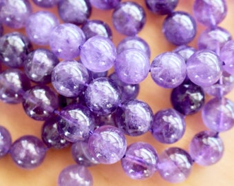 10mm Amethyst beads, full strand, grade A, natural stone beads, round, 10007