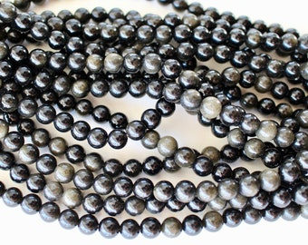 8mm Gold Sheen Obsidian, grade AA, full strand, natural stone beads, round, 80171