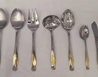 7 Piece Servers Gorham 18/8 Stainless Golden Spring Bud - Seven Serving Pieces