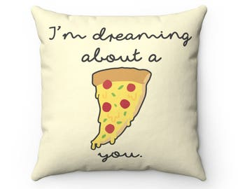 I Draw Foodles Square Throw Pillow - Dreaming Pizza