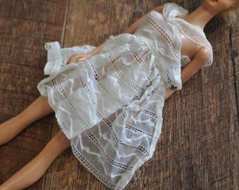 Vintage Barbie Clothes - Shear White Dress - Orange Blossom