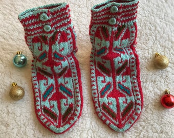 Turkish hand knitted red color winter warm slippers, slipper socks, house shoes